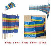 4,5,6,8,10 Wooden Pole Wind break Windbreaker Beach Sun Shelter Caravan Camping