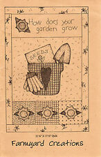 """©1999 Farmyard Creations Quilt Applique Pattern """"How Does Your Garden Grow"""""""