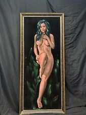 Mid Century Original Mexican Black Velvet Painting  Female Nude Signed 45x20