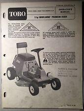 TORO Whirlwind Premium Rider Mower Original 1978 Vintage Operator's Manual