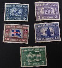 ICELAND #Facit,173,174,175,177,182 MNH. 1930 Millenary of Parliament