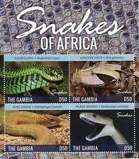 Gambia 2015 MNH Snakes of Africa 4v M/S II Reptiles Boomslang Viper Cobra Mamba