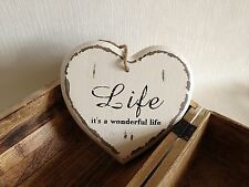 Vintage Wooden Hanging Cream Heart Plaque Sign Shabby Chic Love Home Gift