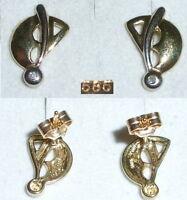 Ohrringe Stecker aus 333er Gold mit winzigem Diamant  (da3638)