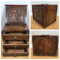 China Antique Suitcase Treasure Box Wood Chest Jewelry Box Storage Statue Hidden