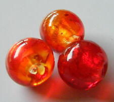 30pcs 12mm Round Silver Foil Lampwork Glass Beads - Red
