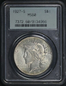 1927-S Peace Dollar PCGS MS-60 Old Gasket Holder