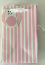 Small White & Pink Candy Stripe Gift Bag 20cm x 12.5cm x 9cm - Any Occasion