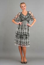 NEW NWT Nataya Plus Size Vintage Titanic Black & Ivory Tea Dress & Slip Set 3X