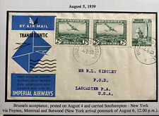 1939 Bruxelles Belgium First Transatlantic Flight Cover To Lancaster PA USA