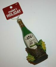 Makers Holiday Green White Wine Bottle In Basket & Grapes Christmas Ornament Nwt