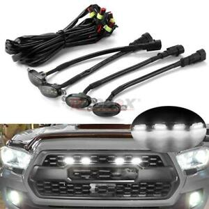 4x Smoked Lens White LED Front Grille Running Lights For Ford F150 Raptor Style