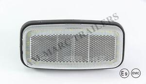 12-24V WHITE CLEAR LED rear front side marker LIGHT LAMP REFLECTOR TRUCK TRAILER