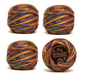 3  Varigated ANCHOR Pearl Cotton Crochet Balls Size No 8 Thread, 85m each. UK