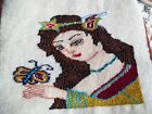 Vintage Mini Rug Tapestry wall Hanging goddess with butterfly Handmade Wool