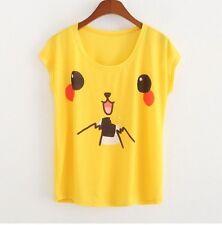 Women Loose  Pikachu Print T-shirt Summer Tee Blouse Yellow Short Sleeve