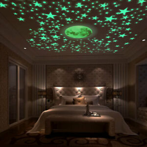 Wall Luminous Stickers Glow In The Dark Stars and Moon Planet Space Bedroom Deco