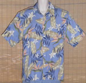 IZOD Hawaiian Shirt Silk Blue Tan Peach Bird of Paradise Floral Size Large
