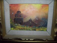 California Mission oil painting signed Wolf