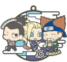 Naruto Three Man Cell Shikamaru, Ino, Chouji Rubber Key Chain Anime Manga NEW