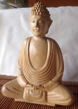 Rare Beautiful Peaceful Collectible Wooden Buddha Buddhist Statue from Indonesia