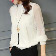 Tops Women Blouse Office Mesh Chiffon Shirt Casual Long Sleeve Slim Shirts Sweet