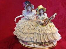 Ackermann Fritz Dresden Porcelain Lace Figurine Ladies Playing Mandolin