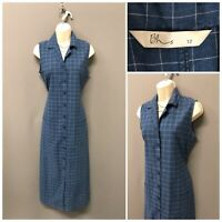 Bhs Indigo Mix Check Sleeveless Retro Dress UK 12 EUR 40 US 8