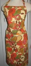 Crate and Barrel Pear print terra cotta cotton FULL bib Apron large pockets