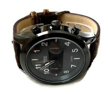 Mens Fashion Watch MC43894, Brown Faux Leather Band Gray Case, Mens Brown Watch