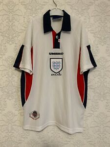 ENGLAND 1997 1998 1999 Vintage Rare UMBRO HOME Shirt Size Youth 158 Jersey 1990s