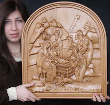 """20"""" Nativity, Birth of Jesus Orthodox Wooden Carved Icon Large. Christian Gift."""