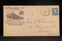 New Hampshire: Long Island 1898 Hotel Weirs Lake Winnipesaukee Advertising Cover