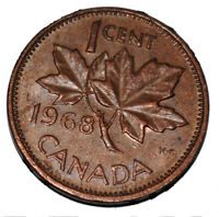 Canada 1968 1 Cent Copper One Canadian Penny Coin
