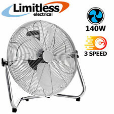 """18"""" Chrome Floor Fan Industrial High Velocity Power Air Silver 3 Speed Cooling"""