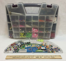 Craft Beads Sports Balls Cords Seed Beads Tubes Rubber Bands Lot w/ Organizers