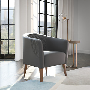Mayview Upholstered Barrel Chair with Diamond Tufting, Gray Faux Leather
