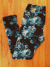 LuLaRoe Leggings OS Blue Vintage Roses Floral Flowers Made In USA
