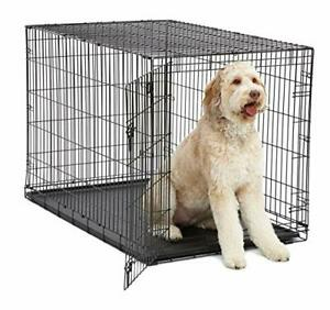 XL Dog Crate MidWest I Crate Folding Metal Dog Crate w/ Divider Panel Floor P...