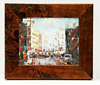 Paris Street Scene 8 x 10 Art Oil Painting on Canvas w/Knotted Wooden Frame