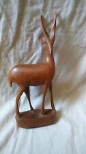 Wooden Hand Carved Deer Gazelle ART Figure Figurine Statue Animal