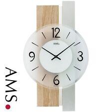 Moderno Reloj De Pared Cuarzo Análogo plateado madera Sonoma óptica con cristal