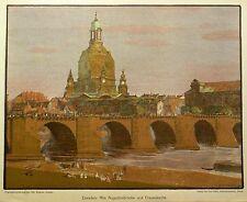 Dresde-Augustus pont-Otto westphal-farblithografie 1908