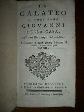IL GALATEO DI MONSIGNOR GIOVANNI DELLA CASA - BASSANO 1768 PIENA PERGAMENA