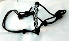 Nylon Cowboy Rope Halter Horse Tack Equine Nose Band Cover by Beaded Inlay Black