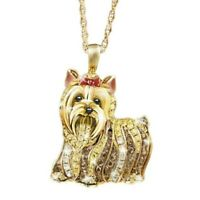Animal Dog 18K Yellow Gold Plated White Topaz Pendant Chain Necklace Jewelry