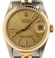 Rolex Datejust 68273 Midsize Stainless Steel 18K Yellow Gold Watch Champagne