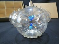 6 Vintage Resl Lenz Blown Glass Silver Foil Spinners Christmas Ornament Germany