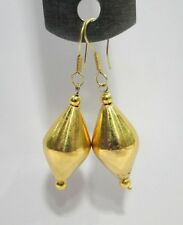 VINTAGE ANTIQUE 21-22 CARAT GOLD BEADS EARRING PAIR INDIA