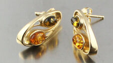 Russian natural honey green Amber real 585 14 k gold earring 5.4 gr US seller